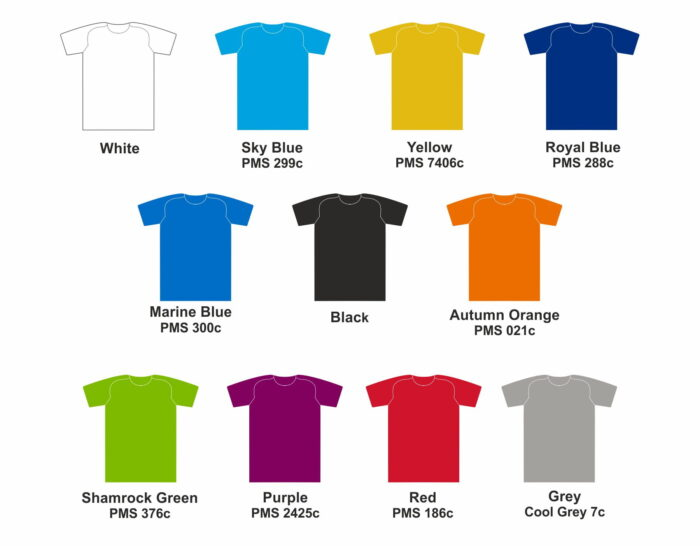Bespoke Tshirt Colour Options