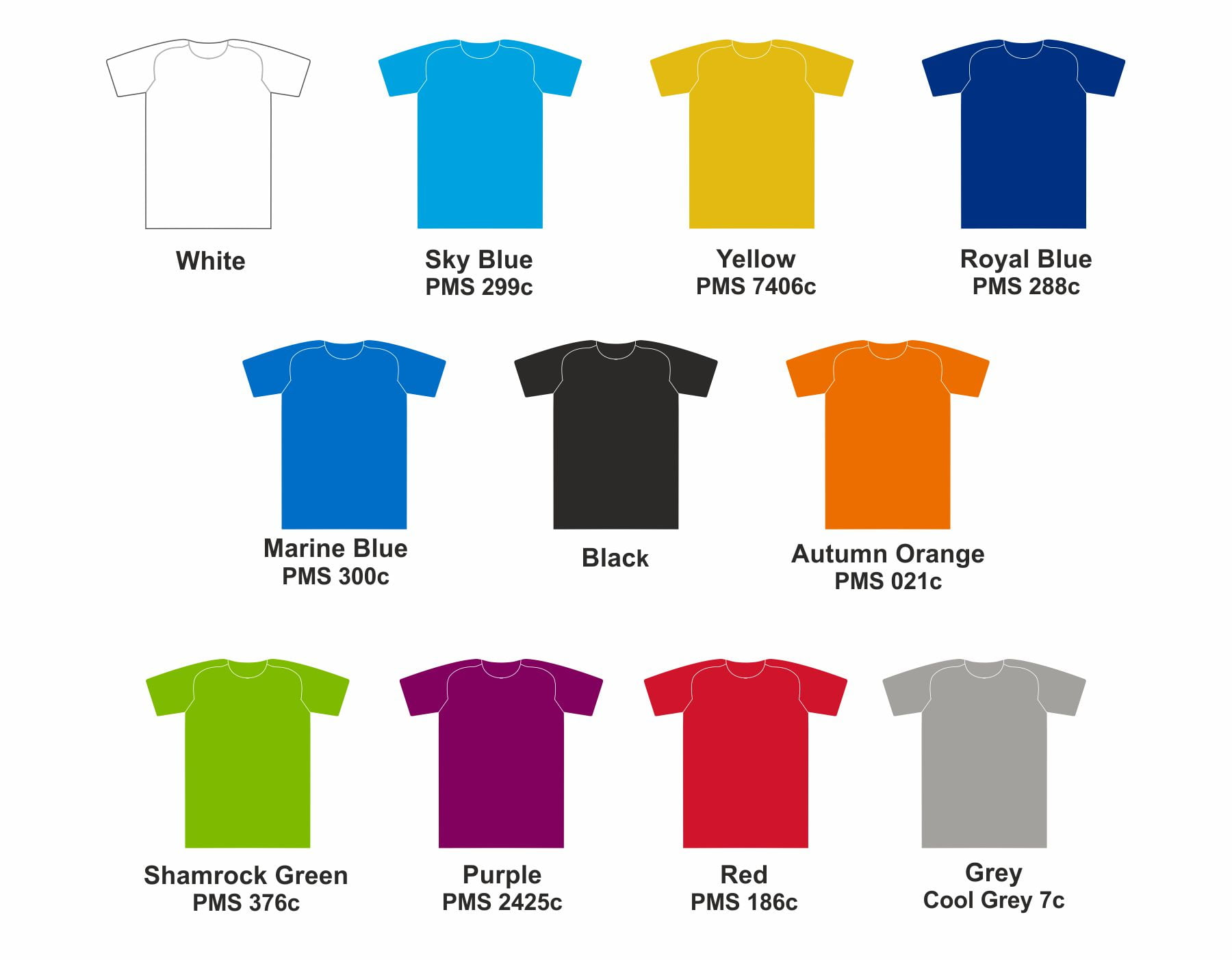 Bespoke T-shirt colour Range