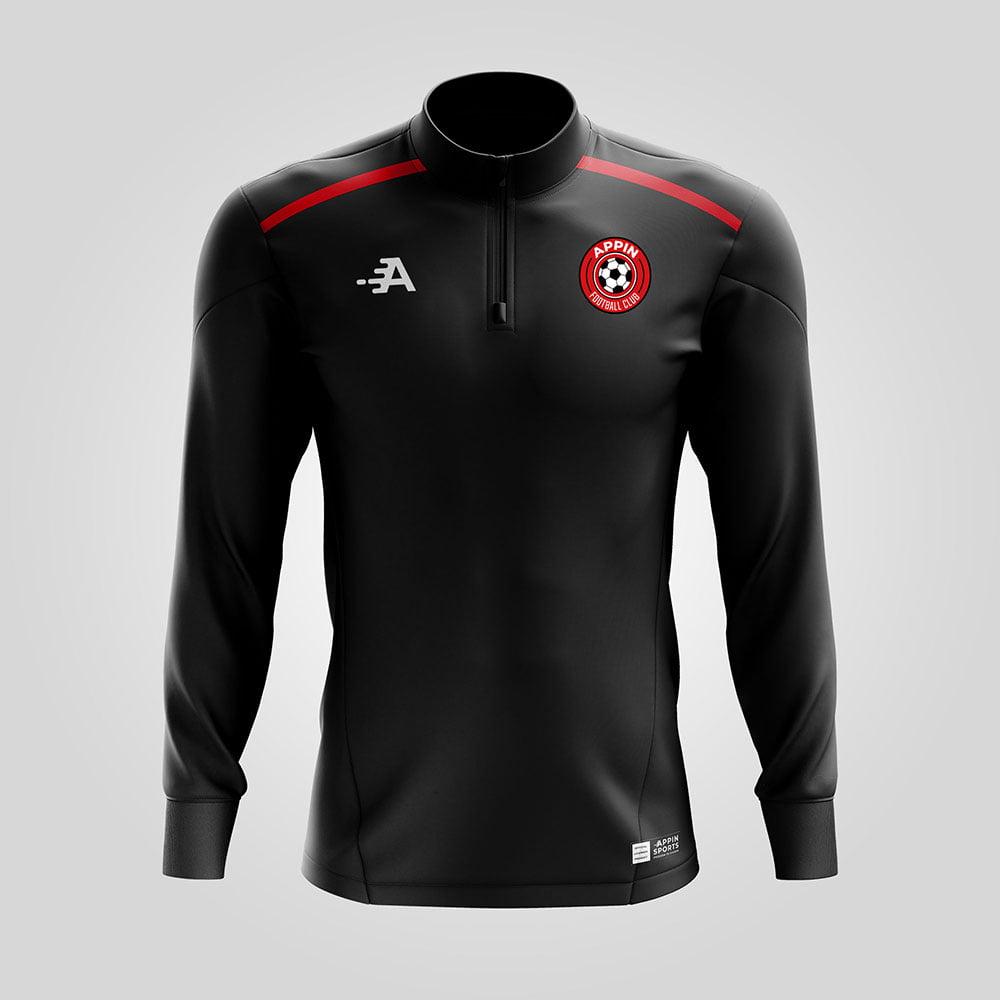 Custom Quarter Zip Jacket In Black & Red