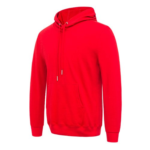 Side view of the red long sleeved team hoodie