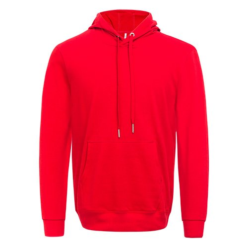 Front view of the red long sleeved team hoodie