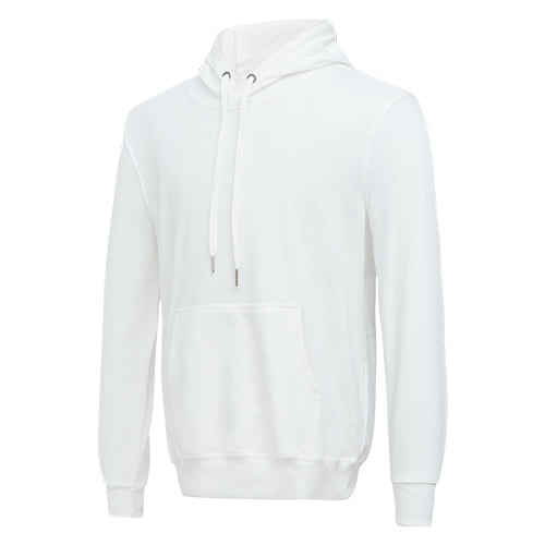 Front view of the white long sleeved team hoodie