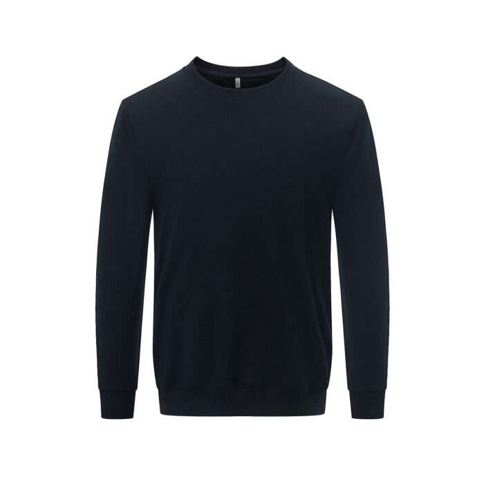 Front view of the black long sleeved sweatshirt