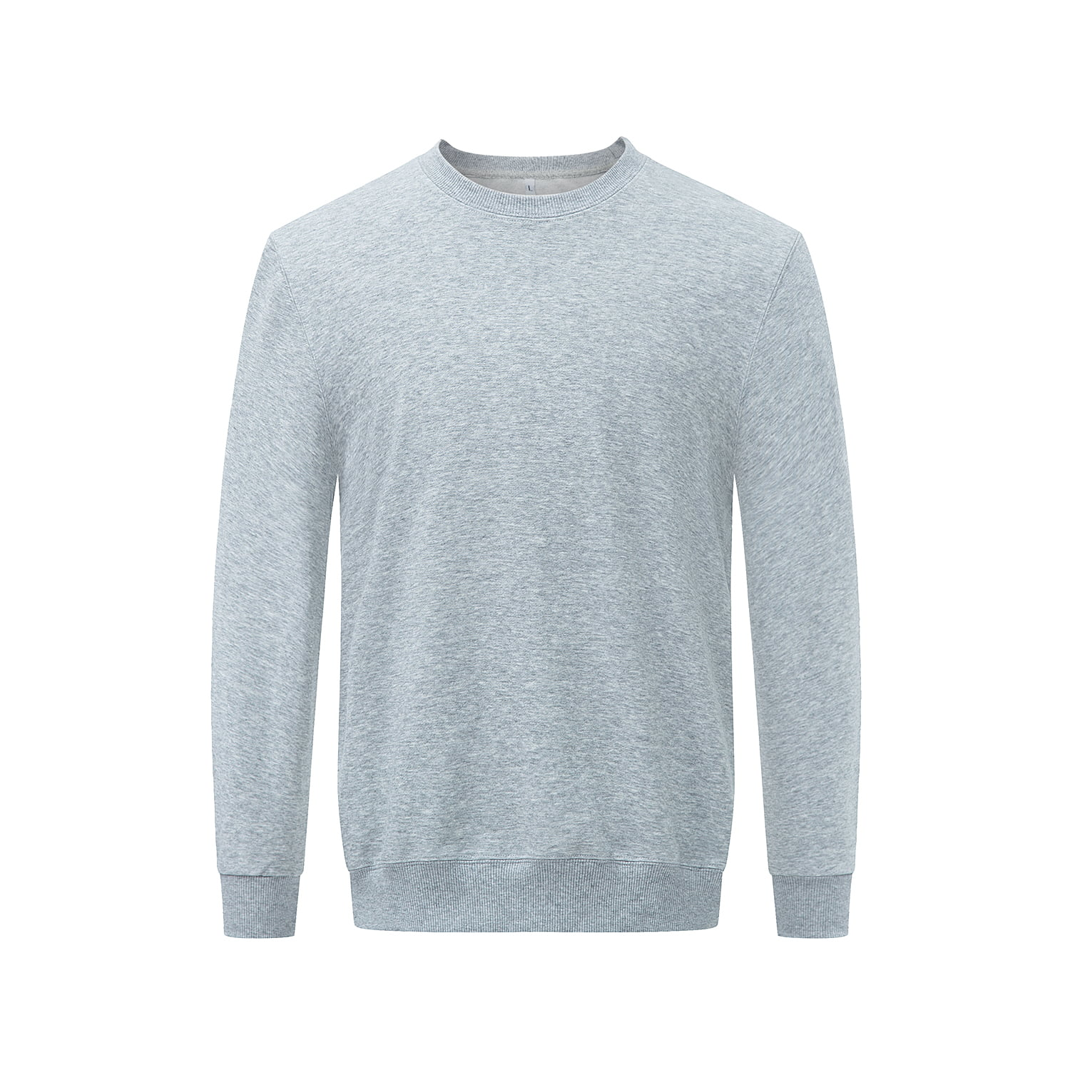 Front view of the grey long sleeved sweatshirt