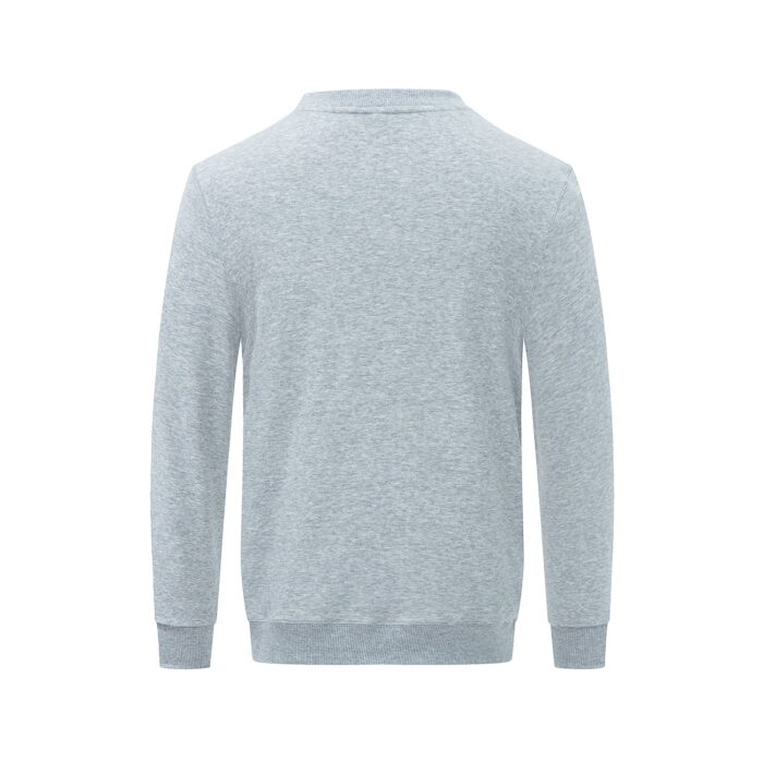 Back view of the grey long sleeved sweatshirt