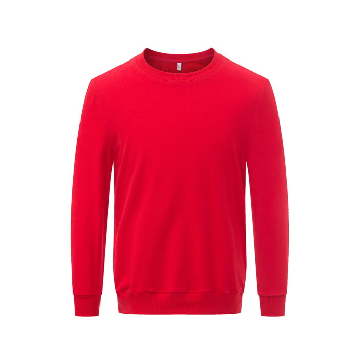 Front view of the red long sleeved sweatshirt