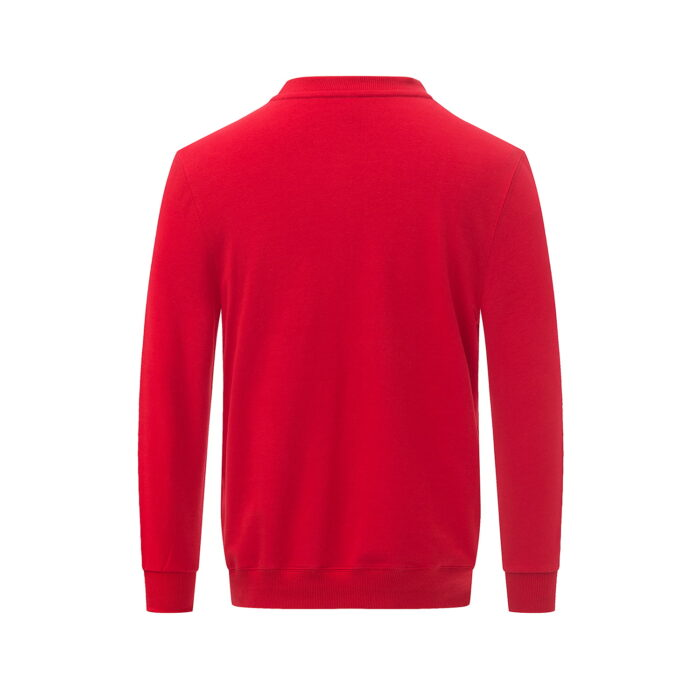 Reverse view of the red long sleeved sweatshirt