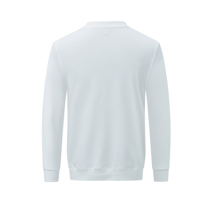 Reverse view of the white long sleeved sweatshirt