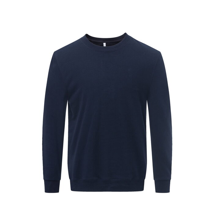 Front view of the navy long sleeved sweatshirt