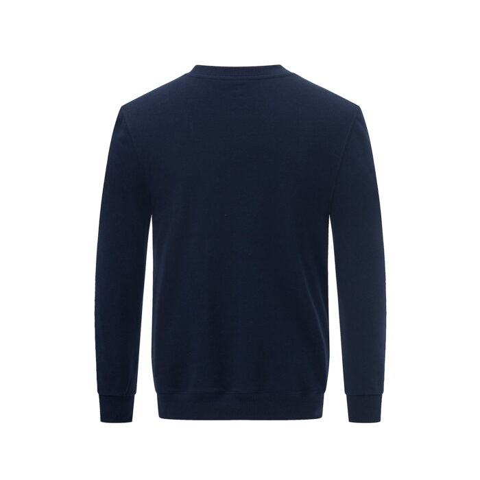 Back view of the navy long sleeved sweatshirt