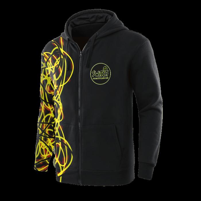 Custom Full Zip Hoodie In Black With Yellow Design