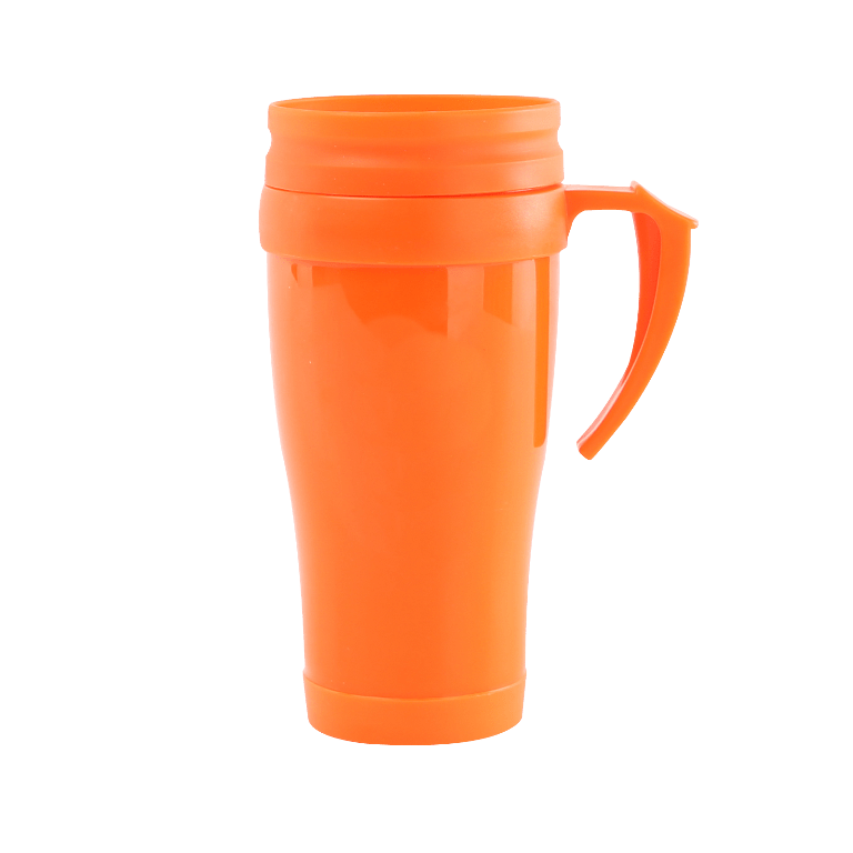 Orange coffee mug with handle