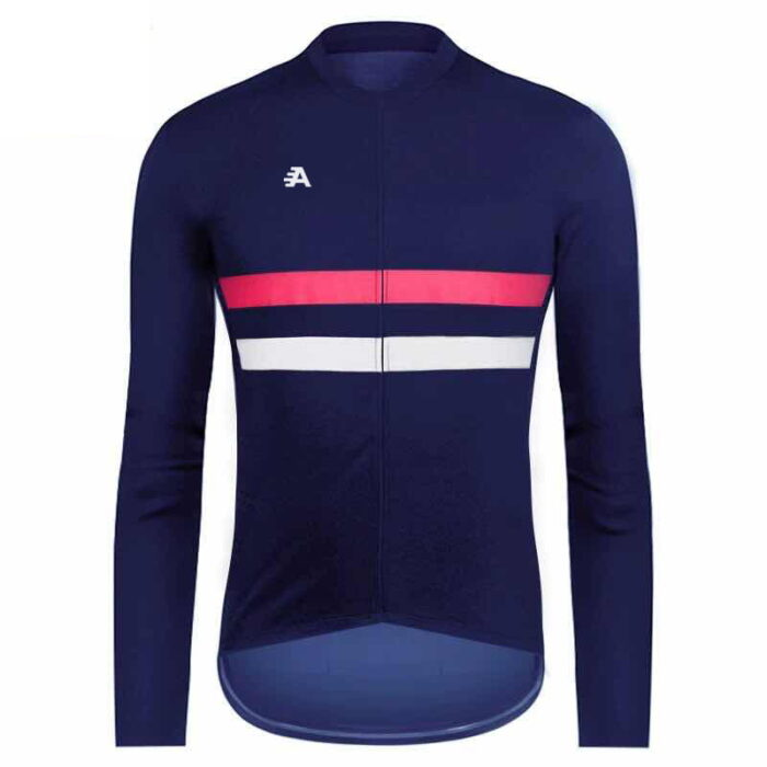 Long sleeved blue with pink and white strips cycling jersey