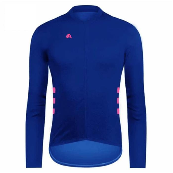 Long sleeved blue cycling shirt