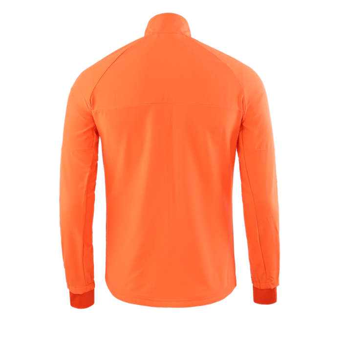 Reverse of the orange long sleeved sports top