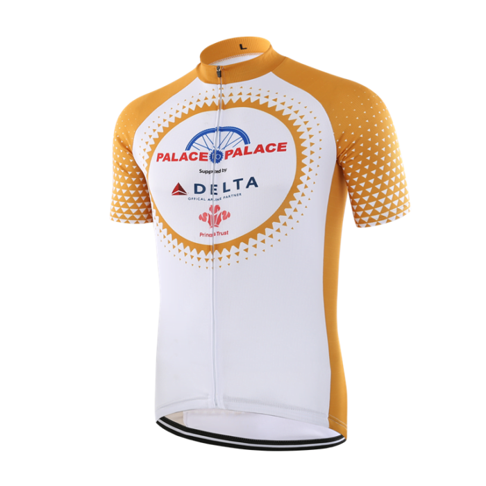 Custom made short sleeved gold and white cycling shirt