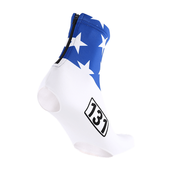 Custom made cycling overshoe covering in blue and white stars