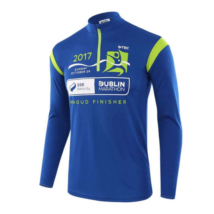 Long sleeved blue custom race top