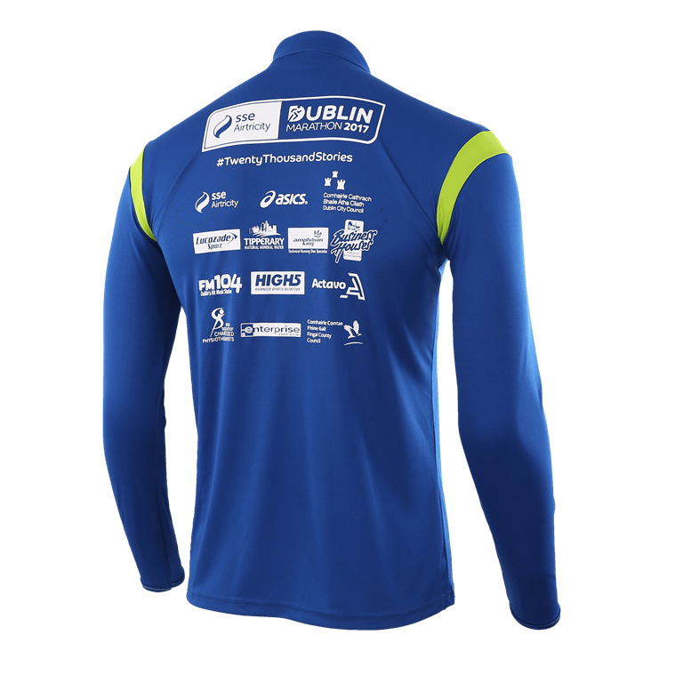 The reverse of the blue long sleeved race top