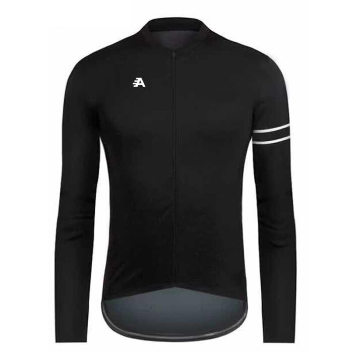 Long sleeved black cycling jersey