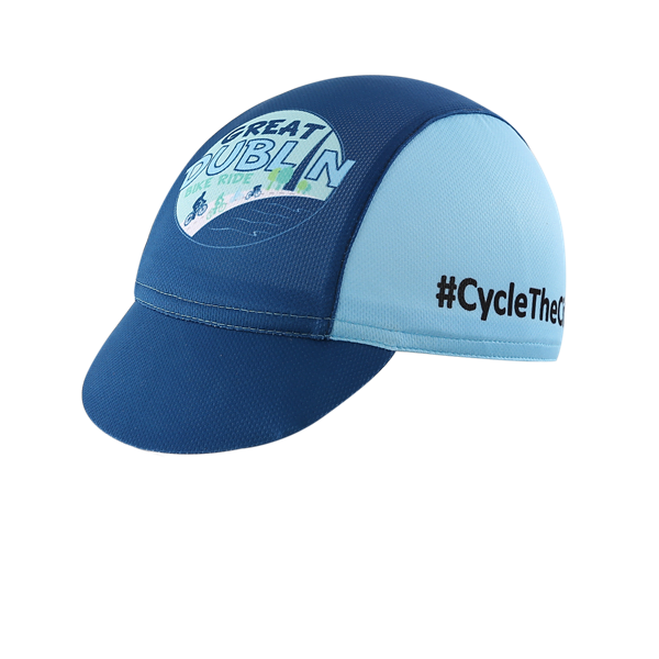 Bespoke peaked cycling hat in blue and light blue