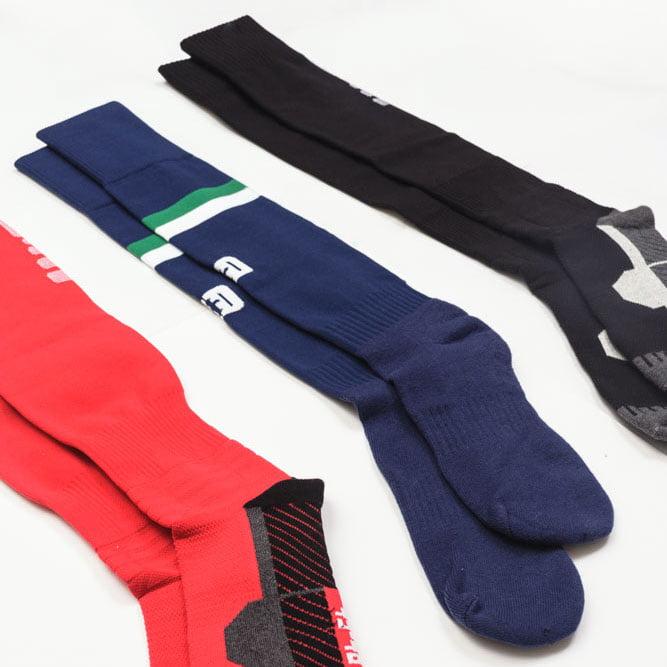 3 Pairs Of Football Socks In Red, Blue & Black