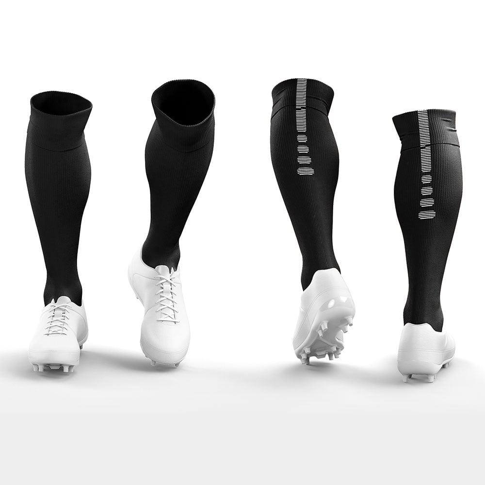 Black Premium Football Socks with White Boots