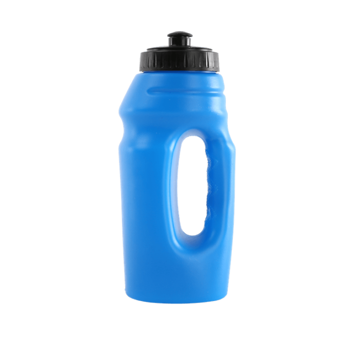 Blue water bottle with hand grip