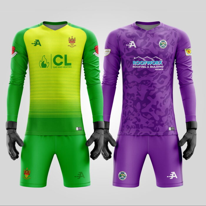 Goalkeeper Jersey and Shorts Set In Purple & Green