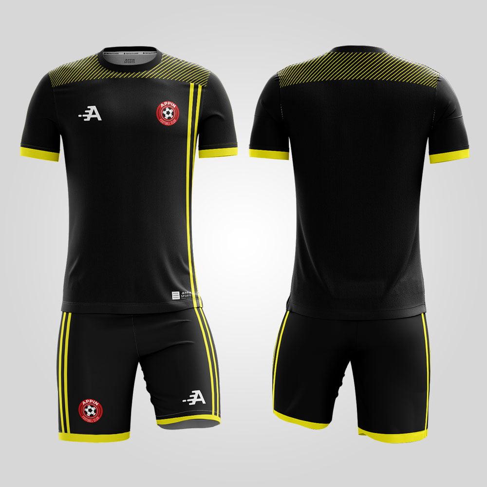 black and yellow football training kit